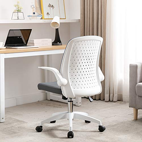 Hosote Office Chair Ergonomic Desk Task Chairs, Mid Back Computer Chair with Flip-up Arms and Adjustable Height, Swivel Home Chair for Home Office Conference Room Dorm, White