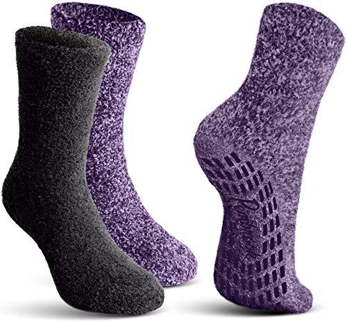 Moisturizing Spa Socks with Aloe & Lavender | 2-Pairs | Fuzzy Gel Sleeping Socks