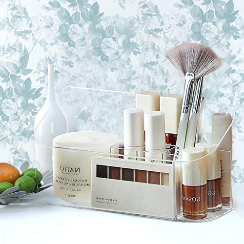 Xnuoyo Organizador de Cosméticos Maquillaje Cosmético Acrílico Organizador Organizador de Maquillaje con 9 Compartimentos para Guardar Maquillaje Cosméticos y Productos de Belleza