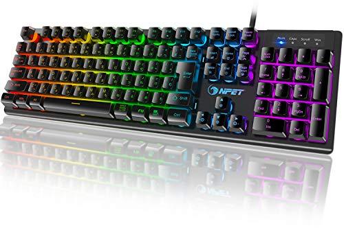 NPET ゲーミングキーボード RGB バックライト 1,680万色 カスタマイズ可能 防水 usb 26キー防衝突 キーボード 角度調節可能 2年間無償品質保証 キーキャッププーラー付き ブラック 日本語配列 106キー K10-RGB