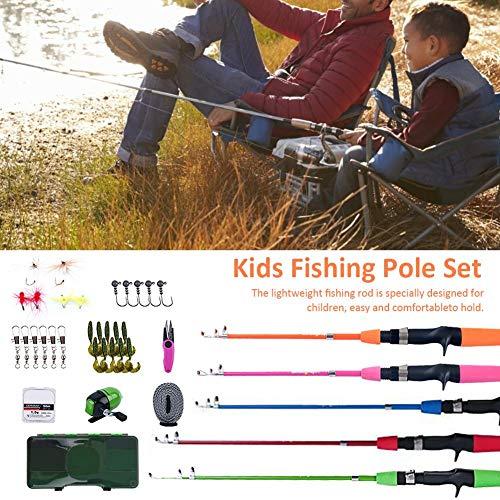 SOWLFE Caña de Pescar para Principiantes para niños - 30 PCS/Set Combos para caña de Pescar para niños | Equipo de Pesca fácil de sostener | Equipo de Pesca Completo: para niños y niñas