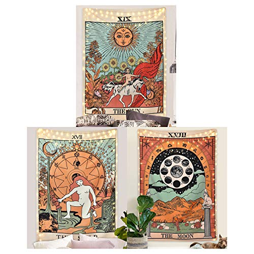 Pack 3 Tarot Tapestry, The Moon, The Star and The Sun Tarot Card Tapetsry, Medieval Europe Tapestry for Room