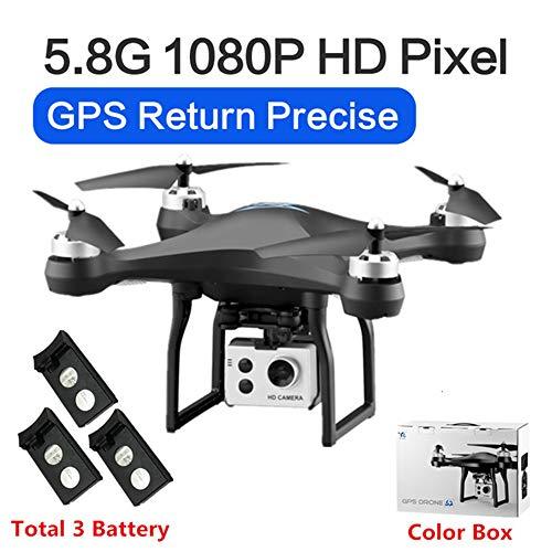 RC Drone GPS Drones met 5G WiFi 1080P HD Groothoek Elektronische camera GPS Intelligent Volgend quadcopter Vlieg 18 minuten Speelgoed, kan als cadeau aan uw kind worden gegeven,Black,3battery
