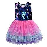 DXTON Little Girl Children Summer Short Sleeve Tutu Party Wedding Birthday Dresses SH4593-5T