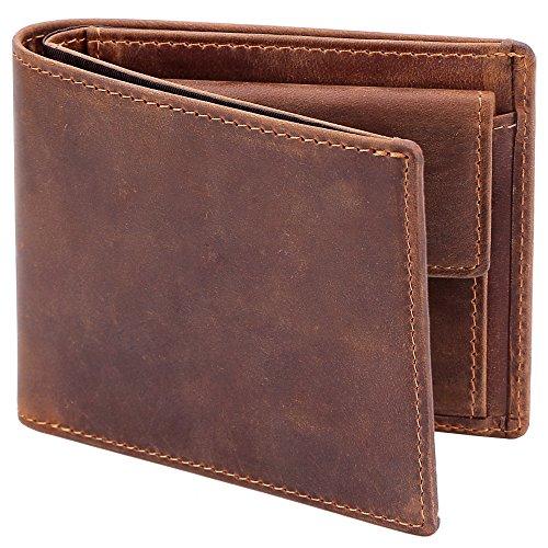 Kinzd® 二つ折り財布メンズ 牛革薄型 小銭入れ付き カード入れ 紙幣入れビジネス用 紳士レザーウォレット (カーキ1)