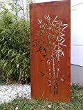 Zen Man Edelrost Garten Sichtschutz aus Metall 1mm Rost Gartenzaun Gartendeko edelrost Sichtschutzwand H125*50cm 031915