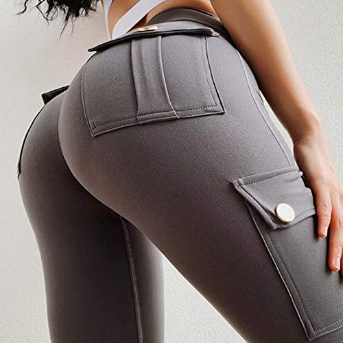 HPPLWomen yogabroek hoge taille militaire stijl sportleggings Gym slim fit zak joggingbroek Outdoor hardloop fitnessbroek, grijs, M