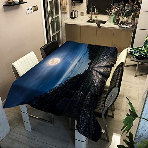 DHHY Polyester Baumwolle Tischdecke Mond Digitaldruck Rechteckigen Wasserdichten Couchtisch Tuch Wohnkultur F 100X140 cm / 39X55 in