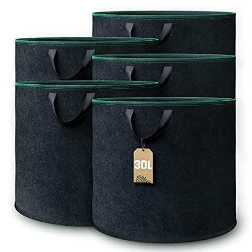 GardenGloss® Pflanzsack (5 Stück) - 30L Pflanztasche aus Vliesstoff - Pflanzentasche für Kartoffeln, Tomaten und Erdbeeren - Pflanzensack als...