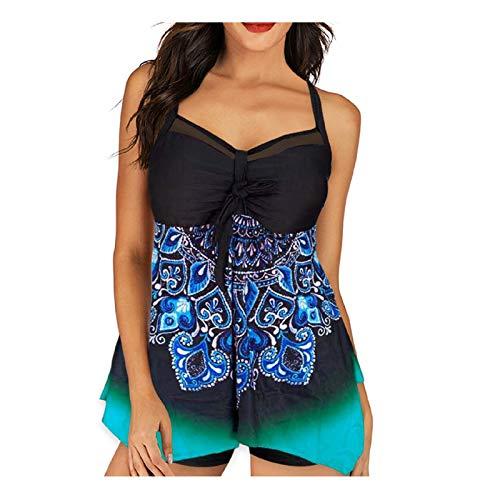 AODY Plus Size Tankini Swimsuits for Women High Waisted Bikini Two Piece Swimwear (BlackD, XXL)