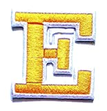 Yellow E Letter Patch Fabric Letter A-Z Embroidered Patch Sewing DIY Craft Badge Cloth Jackets Shirts Patch for Study English Skills Enhancement Kids (Letter/Alphabet E)