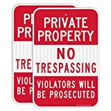 (2 Pack) Private Property No Trespassing Sign, Violators Will Be Prosecuted, 18 x 12 Engineer Grade Reflective Sheeting Rust Free Aluminum, Weather Resistant, Waterproof, Durable Ink, Easy to Mount