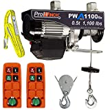 Prowinch 1/2 ton Electric Wire Rope Hoist 1100 lb Load Capacity Crane with Wireless Remote Control System Overhead Garage Ceiling Winch 120V Plug and Play 2 Remote Controls, Sling and Pulley included.