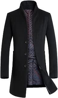 Men's Trench Coat Long Wool Blend Slim Fit Jacket Overcoat
