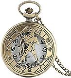 Reloj de Bolsillo al por Mayor Bronce 12 Constelaciones Acuario Mujeres Reloj de Bolsillo Cuarzo Half Hunter Hombres Relojes Cobre Reloj Moderno Collar