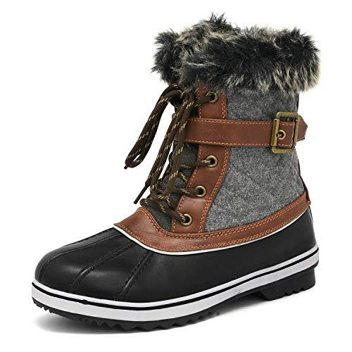 DREAM PAIRS Women's River_3 Black Grey Mid Calf Winter Snow Boots Size 9 M US