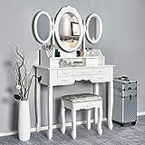 Meerveil Coiffeuse-Tabouret-Blanche-Mirroir-Bois-Femme Table de Maquillage en MDF avec 7 Tiroirs et 3 Miroirs Ovale Tournable, Pieds Stable, pour Femme ou Enfant