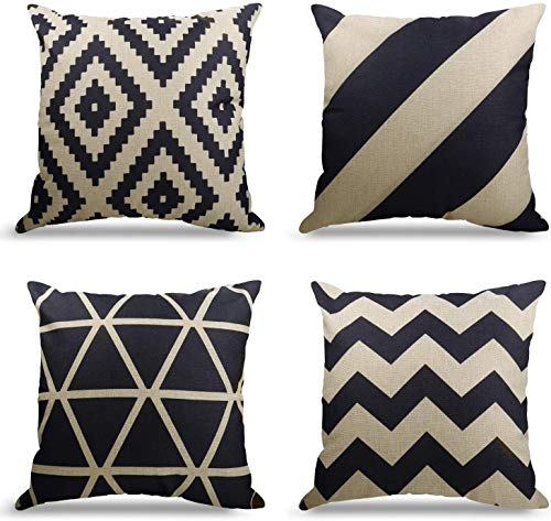 4er Set Dekorativ Kissenbezug Geometrische Muster, Sofa Büro Dekor Kissenhülle aus Baumwoll und Leinen (Geometrische Muster, 40X40cm)