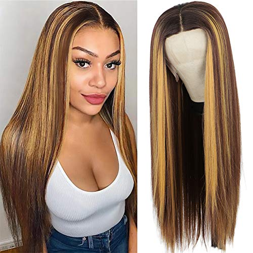 Nnzes Long Straight T-Part Lace Front Wig Brown Mixed Blonde Synthetic Wigs for Women Middle Part Highlights Hair Natural Looking Glueless Heat Resistant Fiber Hair for Daily Party Wear