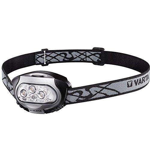 Varta LED x 4 Head Light Kopfleuchte H20 (inkl. 3x Longlife Power AAA Batterien Stirnlampe Kopflampe Taschenlampe Flashlight - rote LED für Nachtsicht geeignet für Joggen, Camping, Fahrradfahren)