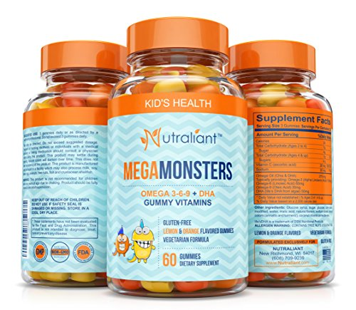 BEST Omega 3 Gummies For Kids MEGAMONSTERS Gummy Vitamins - Vitamin C + Omega 3-6-9 + DHA Algae + Coconut & Chia Seed Oil - Boosts Brain Function, Heart & Vision - Gluten Free, Vegetarian Multivitamin