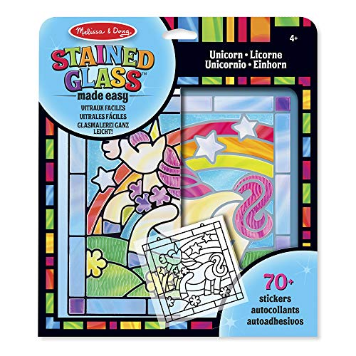 Melissa & Doug- Stained Glass Made Easy-Unicorn Juego de Dibujo, 4-8 Años, Multicolor (19299)