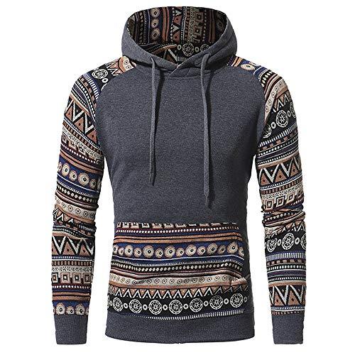 Kapuzenpullover Jungen Hoodie Pullover Männer Herren Kapuzen Sweatshirt Slim Fit Fiesta Kleidung Freizeit Ethno Stil Langarm Warme (Color : Dunkelgrau, Size : L)