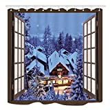 KOTOM Winter Natural Landscape Bath Curtains, Christmas Snow House Scenes Outside Wood Window, Fabric Shower Curtain Liner Waterproof, 69X70 in Bathroom Decorations Accessories Hooks