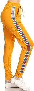 Leggings Depot Women's Solid Striped Side Activewear Jogger Track Cuff Sweatpants Inner Pockets