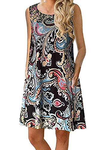 OMZIN Damen Kleid Baumwolle Gedruckt mit Tasche Tunika Vest Kleid Shirtkleid Rundhals Ärmellos Sommerkleid Elegant Schwarzer Spray S