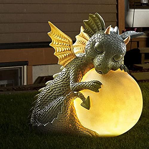QJHP Dragon Meditated Statue, Cute Resin Solar Dragon Garden Statue,16cm Resin Patio Yard Lawn Ornaments Crafts,A