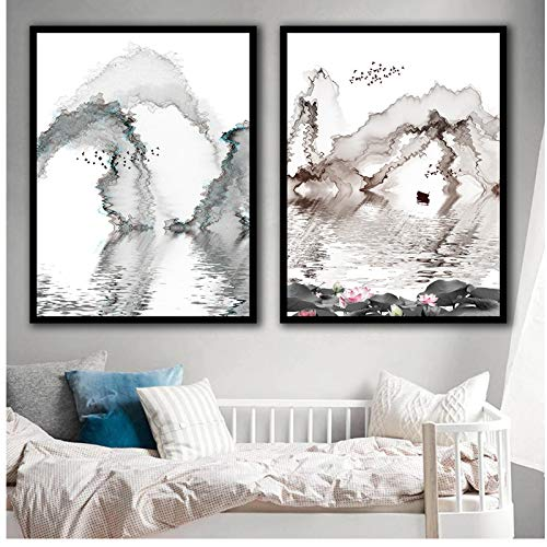 Nordic Minimalist Art Prints Poster Abstract Wall Pictures Kasteel Peak Ferry Boot Scenery Canvas Lotus Schilderij Home Decor 60x80x2Pcscm Geen Frame