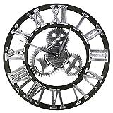 Baoblaze Reloj de Pared silencioso silencioso sin tictac de 12 Pulgadas, Grande, rústico, rústico, Decorativo, de Lujo, Arte, Vintage, Steampunk, decoración - Plata