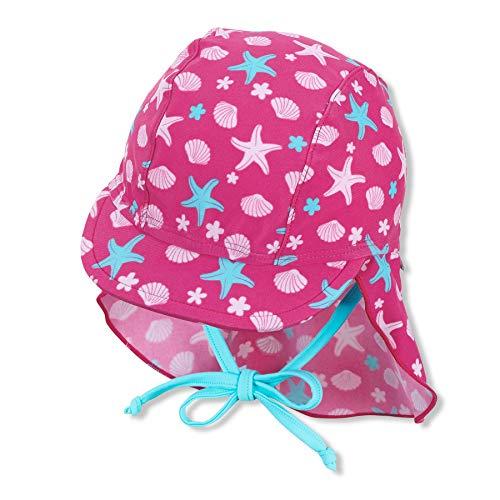 Sterntaler Schirmmütze mit Nackenschutz Sealife Sombrero para el Sol, Magenta, 47 para Bebés