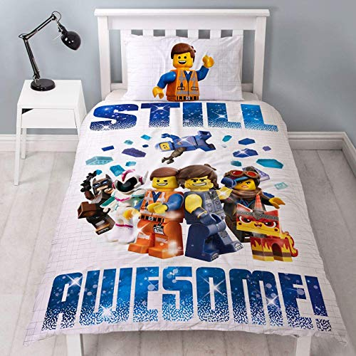 LEGO Movie 2 Single Duvet Cover | Officially Licensed Reversible Two Sided Still Awesome Action Design With Matching Pillowcase