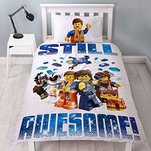 Lego Movie 2 Einzelbett-Bettbezug, offiziell lizenziert, wendbar, zweiseitig, tolles Action-Design mit passendem Kissenbezug