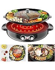 TOPQSC Hot Pot Grill, 44 cm, dubbele scheiding, elektrisch, voor 2-12 personen