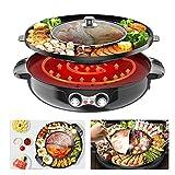 TOPQSC Hot Pot Barbecue Pentola elettrica Fritto Alla Griglia Bollito Hot Pot Pentola Barbecue Multifunzione, 2000W Pentola Calda Teppanyaki per uso Domestico Griglia da Fonduta Senza Fumo