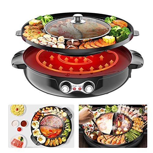 TOPQSC Elektrische Hot Pot Barbecue 2 in1 Doppeltopf Trennung Korean Elektrischer Grill, 42cm Grillpaltte Backform Antihaft Pfanne Rauchfreier Grill im Innenbereich Verstellbarer Thermostat