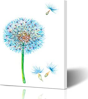 Homeyard Canvas Prints Wall Art Flower Blue Blowball Watercolor Art Dandelion Nature Blowing 16 x 16 Inches Wooden Framed Artwork Painting Home Decor Bedroom Office