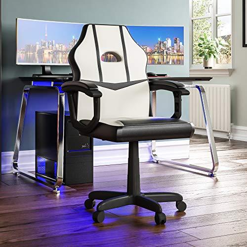 Vida Designs Racing Comet-Silla para Ordenador de Juegos, Color Blanco y Negro, reclinable Giratorio Ajustable de Piel sintética, 101 x 58 x 55 Cm