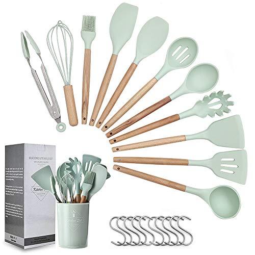 SumDirect 12 Pcs Silikon Küchenhelfer Set, Silikon Küchenutensilien, mit Holzgriff, Hitzebeständige, Antihaft, Einfach zu säubern, können Hängend, beinhaltet Spachtel, Schneebesen