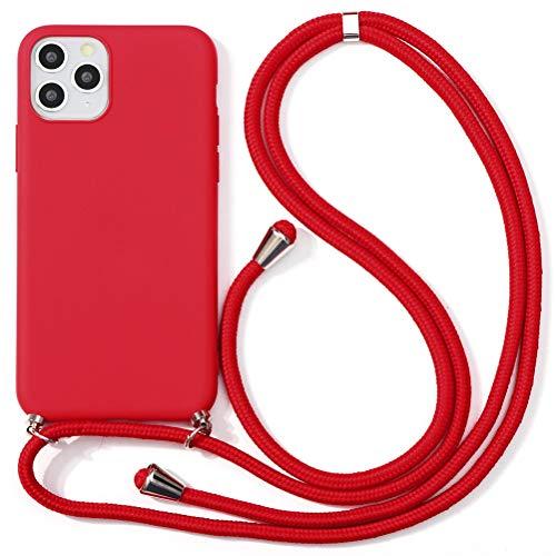 """Yoedge Funda para Samsung Galaxy A8 2018-5.6"""", Funda de Silicona Antideslizante Suave TPU para Teléfono Móvil con Colgante Ajustable Collar Correa para el Cuello Cadena Cuerda, Rojo"""