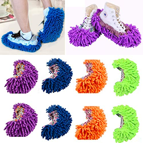 Mop Slippers Shoes Cover 4 Pairs Multi-Function Dust Duster Soft Washable Reusable Floor House Men Women Sweeper Cleaning Mop Tool for Bathroom,Office,Kitchen,
