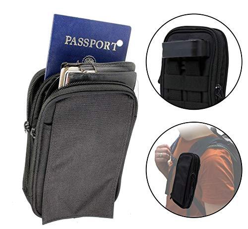 Clakit Outdoor Universal Mehrzweck Tasche Beutel Smartphone mit Klemmhalterung Rucksack Gürtel Schlaufen Tasche Gadget Geld Pocket, schwarz