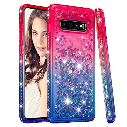 CrazyLemon Hülle for Samsung Galaxy S10 Plus, Glänzend Funkelnd Treibsand Voll-Side Strass Design Pink + Blau Weich Silikon TPU Handyhülle für Frauen
