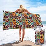 Gebrb Toalla de baño de Microfibra,Toallas de Gimnasio,Abstract Squares Microfiber Fast Drying Towels Suitable for Camping, Backpacking,Gym, Beach, Swimming,Yoga