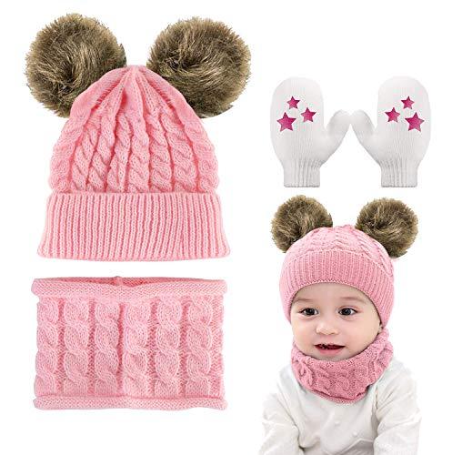 Yutdeng Bufanda Gorro Guantes Beanie Unisexo bebé Set de Bufanda Conjunto de Guantes Antideslizante Punto Sombreros Invierno Regalos bebé Linda Sombrero y Bufanda de Punto Bebé Invierno
