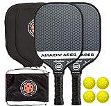 Amazin' Aces Signature Pickleball Paddel-Set   USAPA-genehmigt   Graphitoberfläche & Polymerkern   Premium Grip   inkl. Paddel, Bälle, Paddelhüllen, Tasche &...