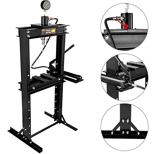 Bestauto Hydraulic Press 20 Ton Hydraulic Shop Floor Press 44000 lb w/with Heavy Duty Steel Plates and H Frame Working Distance 41'(104cm) Top Mount for Gears and Bearings